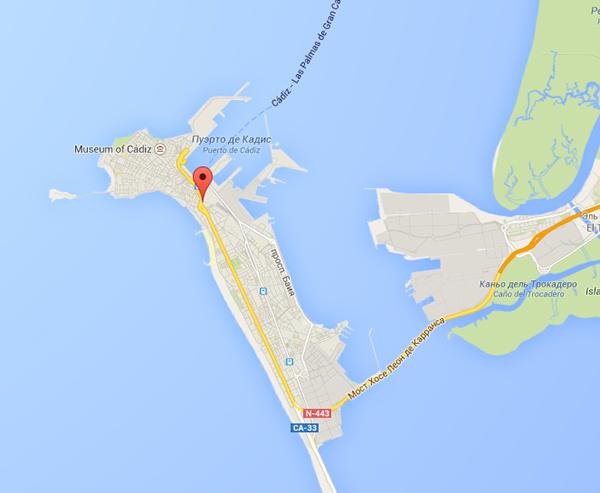 Cádiz en el mapa